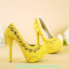 New high-heeled women s golden wedding shoes handmade pearl rhinestone women s  bride s shoes party wedding dress photo shoes e5552a4b7a26