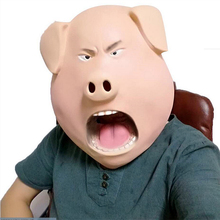 Sing Angry Pig Mask Hood Overhead Latex Rubber Indignant Prank Party Halloween PigHead song animal masks maske costume film(China)