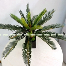 4pcs  Lifelike Artificial Phoenix Sago Palm Fake Foliage Coconut Plant Tree No Vase Wedding Home Garden Decor Green FL5182