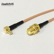 SMA female bulkhead to MCX male right angle RF cable assembly RG316 15cm 6inch NEW wholesale(China)