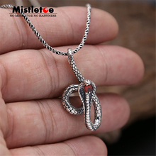 Genuine 925 Sterling Silver Vintage Punk Locomotive Animal Cobra Snake With Red CZ Pendant For Women Men Necklace Jewelry Thai