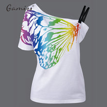 Gamiss 2017 Women T Shirts Skew Collar Butterfly Print Basic Tshirt European Style New Summer Plus Size Woman T-shirt Tees Tops