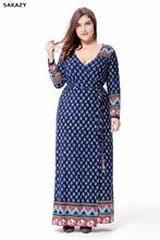 2017 Sakazy Big Size 6xl Fat Mm Woman Dress Spring Loose Printing Long Dresses Plus Size Women Clothing 6xl Maxi Size Dress(China)