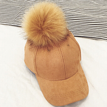 New Style Women Faux Fox Fur Pompom Baseball Caps Light Tan Ball Suede Cap Hip-hop Hat Gorros(China)