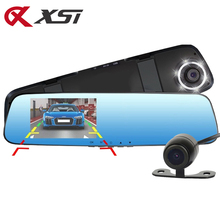 XST 4.3 Inch HD 1080P Dash Cam Car Dvr Camera Mirror With Dual Lens Video Recorder Auto Dvrs Rearview Cameras 6 Led Light(China)
