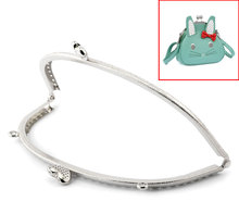 "DoreenBeads 2PCs dull silver color Heart Purse Bag Metal Frame Kiss Clasp Lock 16.5x8.5cm(6 4/8""x3 3/8"")"