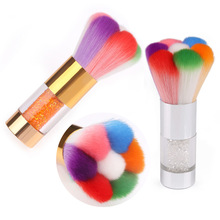 Nail Art Brush Gold Silver Rhinestone Handle Rainbow Petal Brush Tip Nail Dust Cleaning Brush Makeup Brushes Manicure Tool Gift