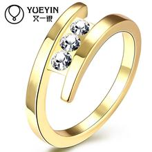 Female jewelry Gold color Engagement rings fashion jewelry anel feminino Rhinestone jewellery Gift for Anniversary(China)