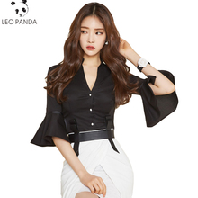 Summer speaker sleeve deep V-neck sexy women's small shirt Fashion solid color perspective Slim thin waist chiffon shirt LCY44(China)