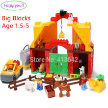HappywBig Blocks 61pcs Happy Farm Set Baby Blocks Funny Animal Sence Play Building Blocks Educational Toys Compatible