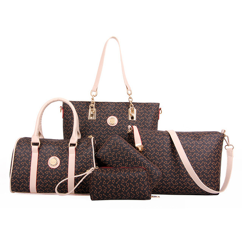 Bone Pattern Women Bag 6PCS/Set Sac a Main Women High Quality Leather Composite Shoulder Handbag+Wallet+Clutch+Card Bag<br><br>Aliexpress