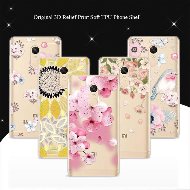Phone Cases Xiaomi Redmi Note 4x Case Cover 5.5 inch 3D Lace Relief Soft TPU Back Covers Coque Redmi Note 4x Funda Capa