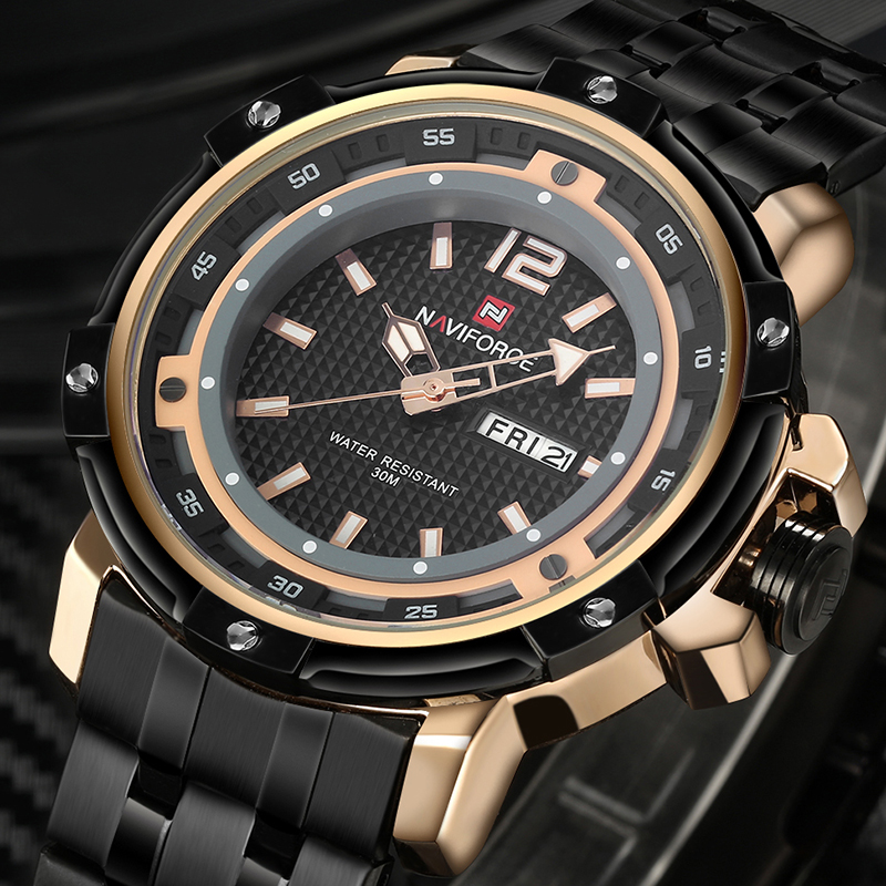 2017 NEW NAVIFORCE Top Brand Luxury Men Full Steel Military Watches Mens Quartz Sports Watch Waterproof Clock Relogio Masculino<br><br>Aliexpress