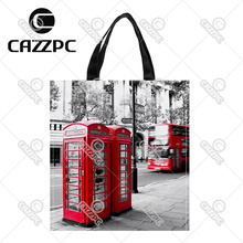 London City Styel Retro Red Telephone Boxes Pattern Print Custom Oxford Nylon Fabric Shopping Storage Grocery bag Pack of 2