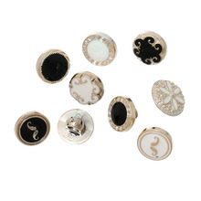 "DoreenBeads Resin Sewing Shank Buttons Round Rose Gold black white At Random Enamel 11mm( 3/8"") x 8mm( 3/8""), 100 PCs"