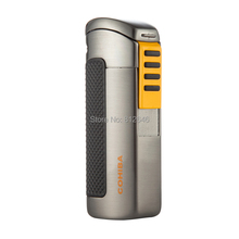 COHIBA Cigar Lighter Windproof 3 Torch Jet Flame Butane Gas Lighters for Cigarette Cigar Lighter Portable COHIBA Cigars Gadgets