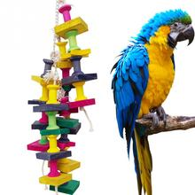 High Quality Colorful Parrot Toys Macaw Cage Chew Bird Toys Natural Wood Ladder For Parrots Pet Bird Conure Swing Scratcher(China)
