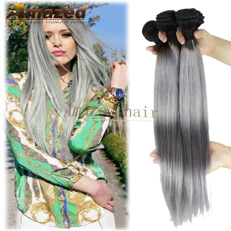 7A Grade Ombre Hair Extensions 1B Gray Ombre Silver Grey Hair Weave Brazilian Virgin Hair Straight Ombre Human Hair Extensions<br><br>Aliexpress