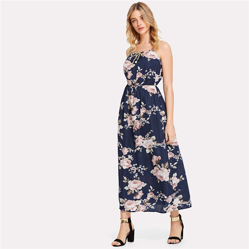 COLROVIE 2018 All Over Florals Faux Pearl Detail Cami Dress Ladies Sleeveless A Line Dress Spaghetti Strap Vacation Dress 12