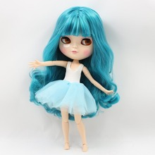 Free shipping blyth icy doll licca body BL4302 blue green hair natural skin joint azone body small chest 1/6 30cm gift toy(China)