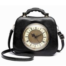 2018 Ameiliyar Real Clock Shoulder Bag Women Cross Body Bags Lady PU Leather Handbags Stylish Party Clutches Evening Purses(China)