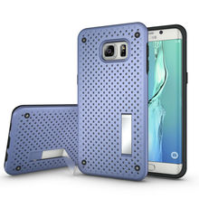 for Samsung Galaxy S6 Edge Plus Mesh Hole Stand Hybrid Back Cover Heat Radiation + Kickstand Holder Armor Cell Phone Case(China)