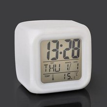 Cube Digital LED Alarm Clock Candy Colors Change Alarm Date Time Thermometer Simple Chic Style