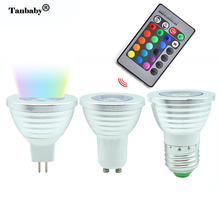 Tanbaby 3W RGB LED Light Bulb E27 MR16 GU10 16 Colorful Change spotlight Lamp with Remote controller For Home Party Decoration