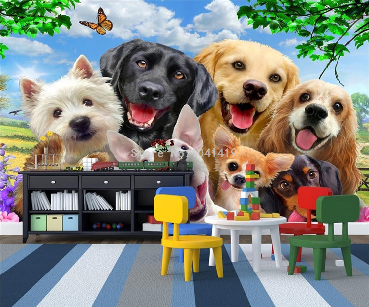 HTB1fWZuSFXXXXXpXFXXq6xXFXXX7 - 3D Wallpaper Cute Cartoon Lawn Dog Animal Photo Wall Murals Children Kids Bedroom Backdrop Wall Home Decor Papier Peint Enfant