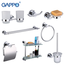 Gappo 8PC/Set Bathroom Accessories Soap Dish Double Toothbrush Holder Paper Holder Towel Bar Glass shelf Bath Hardware SetsG18T8(China)