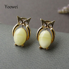 Yoowei Wholesale Owl Amber Earrings for Girl 100% Natural Butterscotch Beads Stud Earring Baltic Amber Jewelry Pendientes ambar(China)