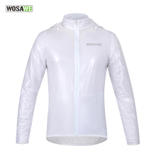 WOSAWE Men Women Cycling Rain Jackets Long Sleeve Waterproof Windproof Sports Bicycle Bike Jacket Raincoat Jersey for Rainy day