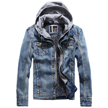 NewJeans Jacket Men Streetwear Winter Fleece Hooded Detachable Thick Denim Coats Mens Designer Jackets jaqueta masculina casacos