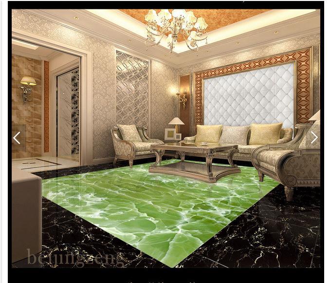 custom 3d photo wallpaper 3d flooring painting wallpaper Green jade hall hall marble stone floor wall 3d living room wallpaer<br>