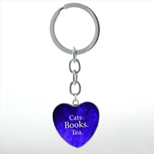 Cats Books Tea Heart Pendant key chain ring Book Lover Gift Book Quote Librarian keychain Leisurely life men women jewelry HP409