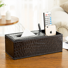Crocodile Leather Rectangle Square Tissue Box Pen Remote Storage desk organizer Paper Napkin Towel holder dispenser cover cases(China)