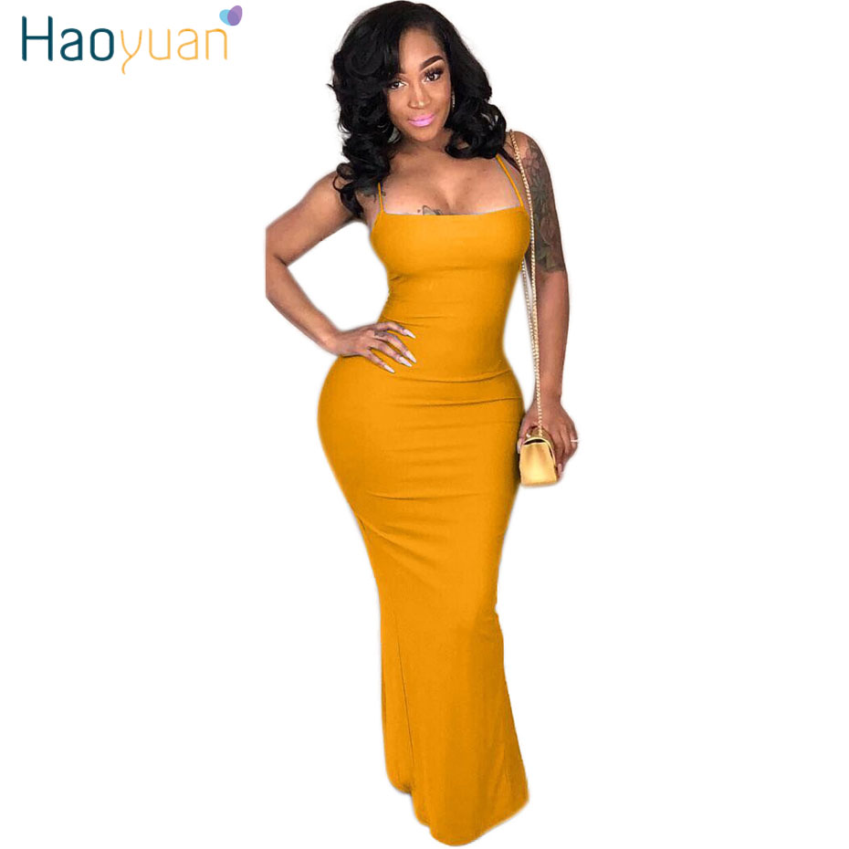 HAOYUAN Plus Size Sexy Club Long Maxi Dress Women Clothes Summer Elegant Backless Bandage Party Dresses Casual Bodycon Dress