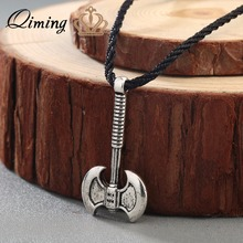 QIMING Axe Perun Amulet Slavic Necklace Deity of thunder lightning Patron of Soldiers Warriors God Perun Slavic Viking Jewelry(Hong Kong)