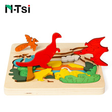 N-Tsi Wooden 3D Jigsaw Learning Puzzles Set Cartoon Dinosaur Animal Educational Montessori Toys for Children Kids Gift Game(China)