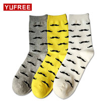 Yufree 2017 Men Socks Casual Pure Cotton Beard Pattern Tube Socks Men Fashion Solid Color Funny Happy Socks Hot Sale(China)
