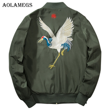 Aolamegs Men's Jacket Chinese Crane Embroidery Thin Bomber Jacket Men Hip Hop Fashion Outwear Men Coat Bomb Baseball Jackets(China)
