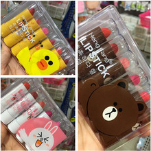 6Pcs/Lot 3.5g Cute Lipstick Yellow Duck Brown Bear Pink Rabbit Lipstick Lipgloss Waterproof Easy to Wear Lip Stick with Box(China)
