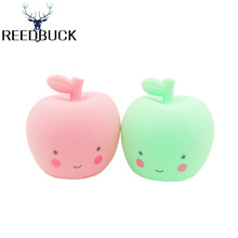 Lovely Smile Face Led Night Lights Pink Green Apple Table Lamp Holiday New Year Decor Night Lamps Gift For Children's Bedside(China)