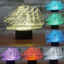 3D Sailing Sea Boat ship Gift Home Cafe Decoration Night Light USB Led Table Desk 7Colors change illusion Lamp Child Kids