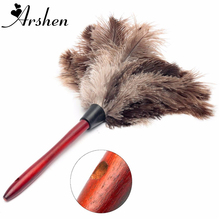 Arshen 40cm Ostrich Natural Feather Duster Brush Wood Handle Anti-static Cleaning Tool Household Furniturer Car Dust Cleaner(China)