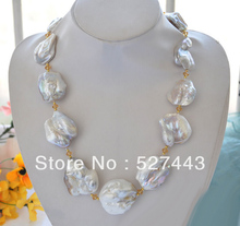 Wholesale free shipping >>HUGE nature 42mm baroque white KESHI REBORN PEARL stone NECKLACE 20inch
