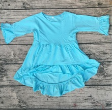 Latest Design long Sleeve Baby Cotton Frocks Designs Fancy Kids High Low Top party Dress