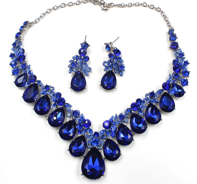High quality wedding jewelry sets bridal silver necklace and earrings crystal rhinestone women party dress jewerly accessories 6