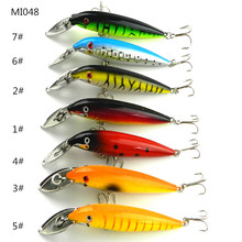 7PCS New 16.2G 14CM Minnow Aluminum tongue plate Deep diving 1.2-2.7M 3D eyes 4# fishhook fishing lures fish artificial baits(China)