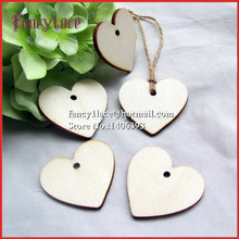 Hot Sale 200Pcs Wood Wooden Heart tags Wedding Card Wish Tree Gift Tags with Jute String 40mm*37mm Wedding FavorParty Decoration